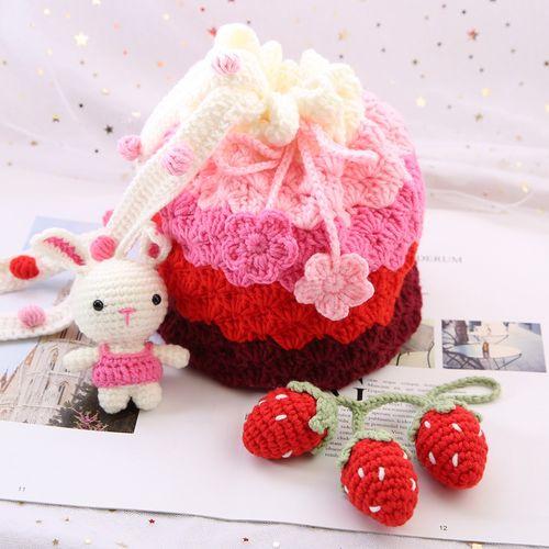 毛线手工编织包包玩偶diy手工制作礼物钩针编织材料包草莓渐变包