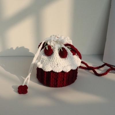 可以自己缝的包包毛线包diy手工针编织小香风草莓材料