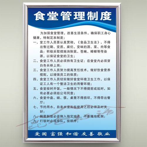 食堂餐厅管理规章制度牌企业工厂车间办公室规章制度