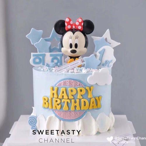 鼠宝宝一周岁烘焙蛋糕装饰摆件网红m老鼠情侣生日甜品