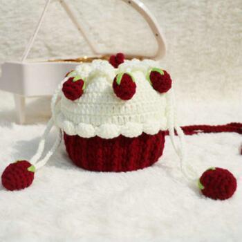 木聪仁 手工编织钩针草莓蛋糕包包手织毛线针织自制束