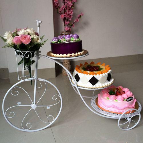 欧式创意铁艺蛋糕架子三层自行车婚庆生日多层蛋糕架