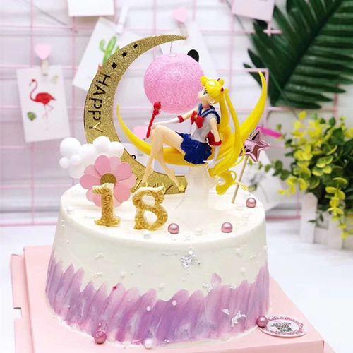 美少女战士蛋糕装饰水冰月婚纱公主月亮灯女孩生日