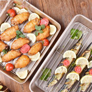 烘焙模具不沾蛋糕烤盘长方形面包曲奇烤箱家用烤盘工具 13寸带网架
