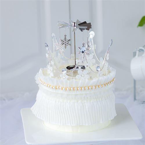 网红女神皇c冠蛋糕装饰亚克力透明花纹皇冠婚礼生日
