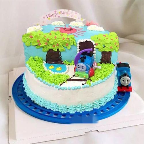 电动会跑的托马斯小火车带圆形轨道儿童场景生日蛋糕