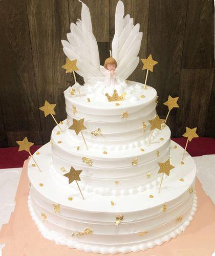 新款卡通网红流行创意独角兽白色天使翅仿真蛋糕模型