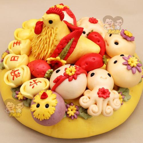 胶东花饽饽馍馍生日寿桃馒头蛋糕面点礼物大饽饽卡通款