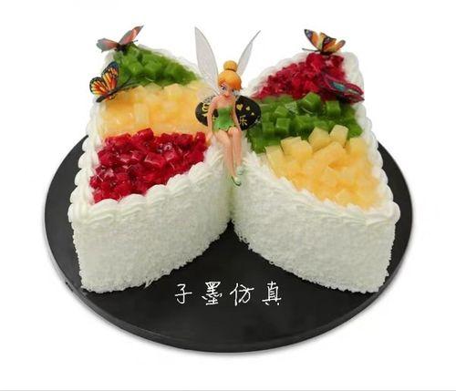 2019子墨仿真新款网红爆款流行生日蝴蝶款花仙子水果蛋糕模型样品