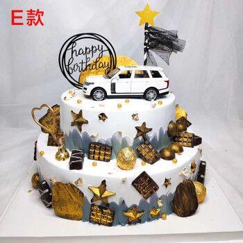 网红双层汽车生日蛋糕奔驰大g小车玩具男士儿童周岁抖