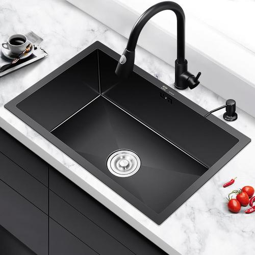 纳米水槽单槽黑色台下盆嵌入式洗碗池小304不锈钢洗菜