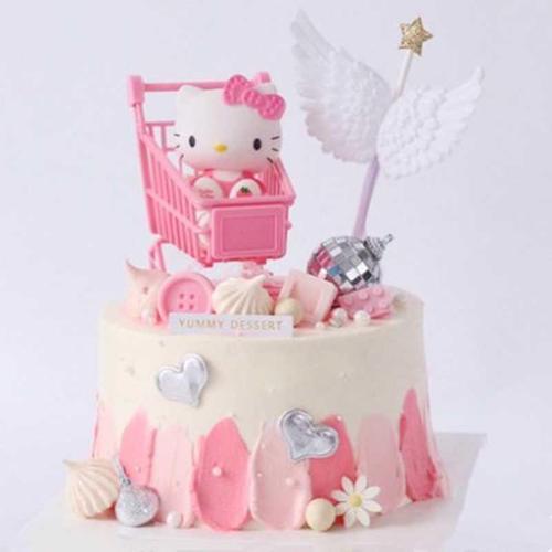 网红新款kt猫仿真蛋糕  凯蒂猫儿童卡通生日蛋糕模型