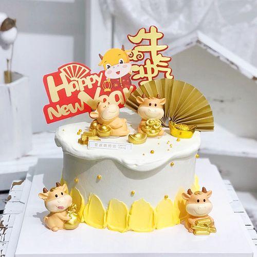2021牛年生日蛋糕装饰摆件牛宝宝发财福生肖牛周岁蛋糕插牌插件