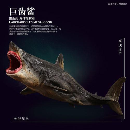 玩模乐儿童仿真动物海底生物玩具模型大白鲨食人鲨