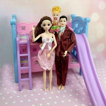 迪士尼芭比娃娃房子怡熙上下床铺双层床双人套装公主卧室家具女孩玩具