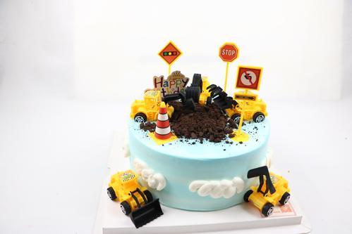挖掘机儿童蛋糕