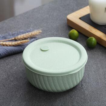 保鲜碗带盖塑料碗单个学生泡面上班族便当盒可微波炉加热饭盒 薄荷绿