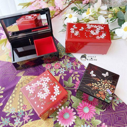 现货日本进口樱花蝴蝶音乐八音盒带镜子首饰盒蝶恋花