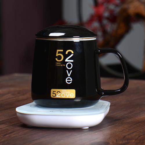 情侣对杯水杯办公室简约咖啡杯茶杯咖啡器具 520黑款带过滤网+恒温器