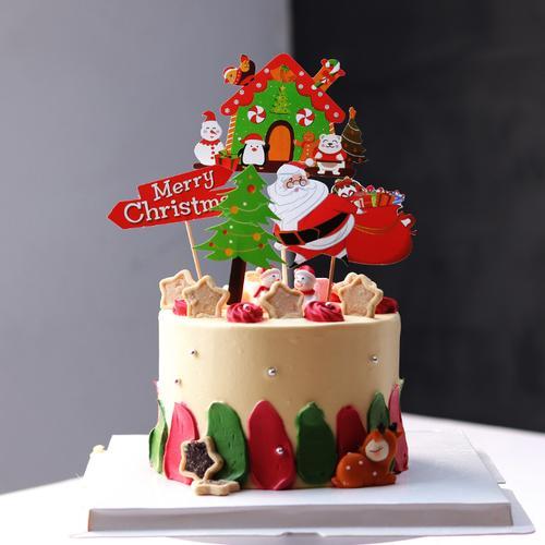 圣诞节横幅蛋糕插牌套装 圣诞老人圣诞树雪人蛋糕装饰