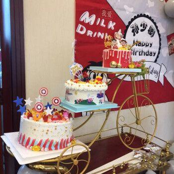 食锦谣生日蛋糕同城配送网红创意三层自行车生日蛋糕多层祝寿结婚礼