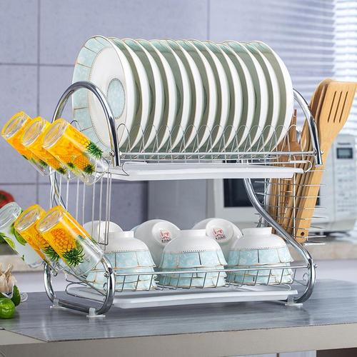 架碗厨房用品厨房沥水收纳碗筷碗盘放架碗碟双层物架