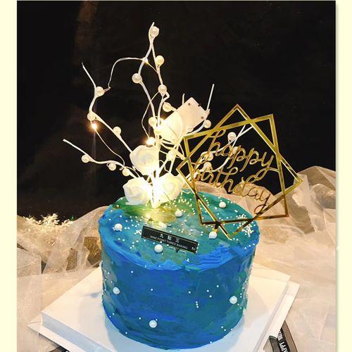 节蛋糕装饰浪漫白玫瑰珍珠树枝插件摆件生日甜品
