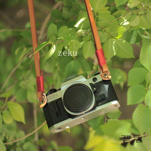zeku真皮相机背带复古植鞣皮相机肩带牛皮手工绕线