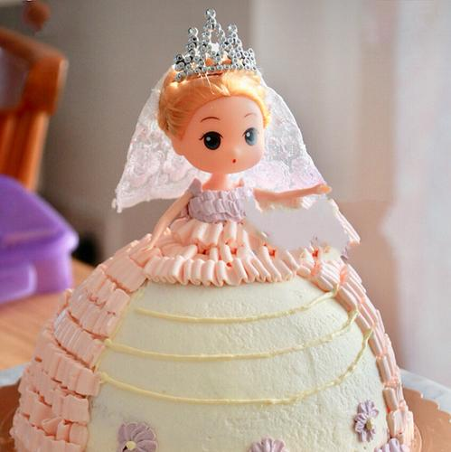 芭比娃娃生日蛋糕摆件18厘米新娘娃娃泡泡浴裸娃女孩公主烘焙装饰