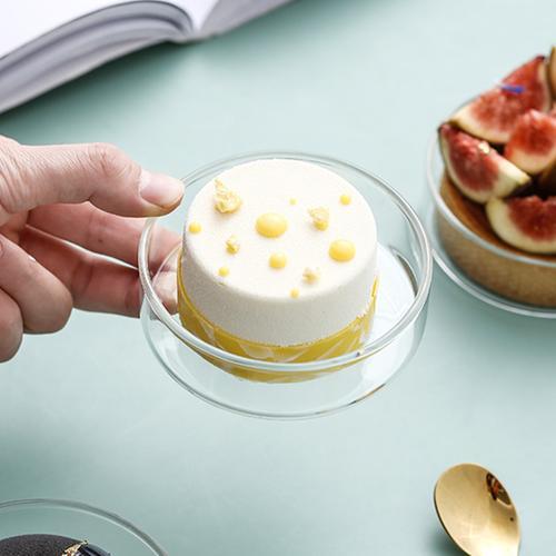 迷你玻璃碟 ins风托盘蛋糕碟子点心盘甜品盘慕斯西点