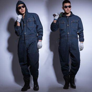 青衣麻相连体工作服牛仔棉质透气套装工装男女电焊汽修喷漆机修防尘