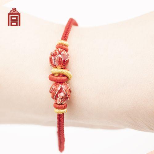故宫文创 手工彩绘吉祥手绳 古风珐琅红绳手链 中国风
