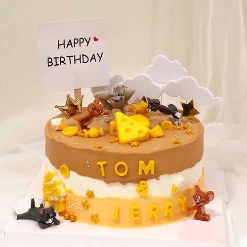 猫和老鼠生日蛋糕装饰摆件配件配饰汤姆杰瑞儿童派对