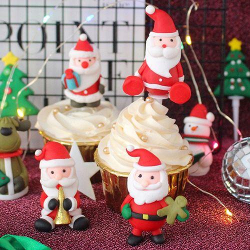 圣诞节老人雪人软陶蛋糕装饰摆件雪松蛋糕小插件甜品
