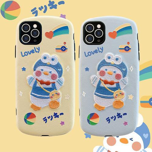 玩胜 可爱卡通情侣刺绣背包鸭子11/12pro/max/mini苹果x/xs/xr/se手机
