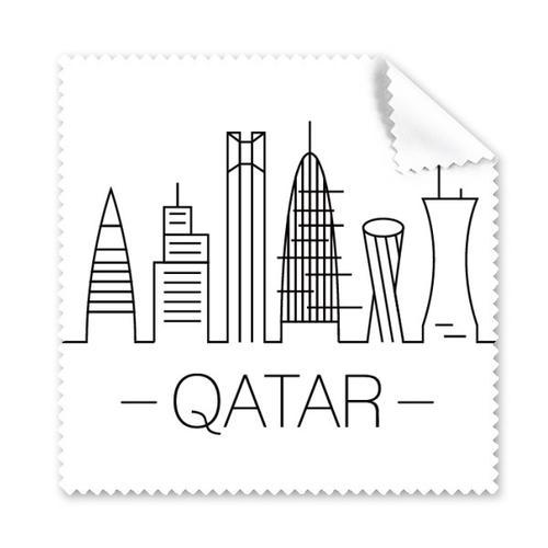 简笔画城市卡塔尔地标建筑眼镜布屏幕清洁布礼物手机