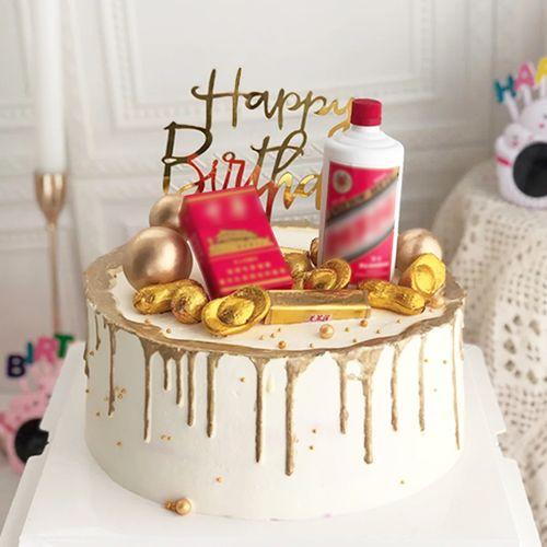 网红父亲蛋糕装饰摆件奔驰仿真迷你酒瓶烟盒生日插件