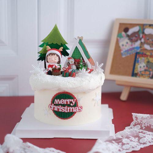 搞子同款圣诞树蛋糕圣诞节蛋糕装饰小火车摆件圣诞老人