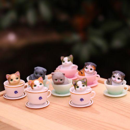 可爱迷你茶杯猫咪公仔小花猫杯子猫玩偶摆件桌面蛋糕