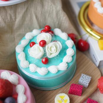 来图定制 仿真蛋糕模型新款假水果食物橱柜生日摆设拍摄道具 5寸蓝色