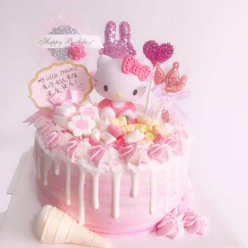 粉色少女心可爱小猫蛋糕装饰摆件韩系爱心星星小兔