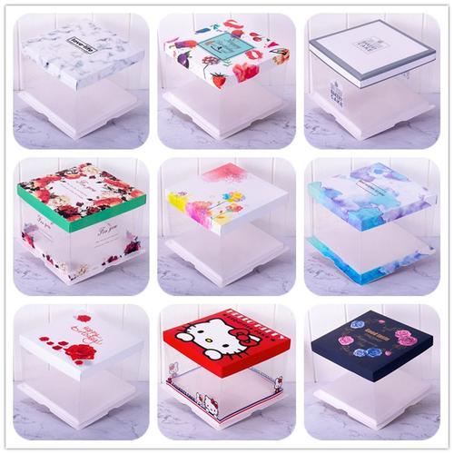6寸8寸10寸12寸14寸单层双层三合一全透明蛋糕盒卡通