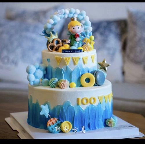 轩和仿真蛋糕模型抖音小王子公主卡通场景儿童生日双层假蛋糕样品