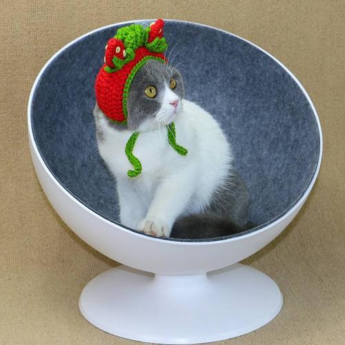 宠物帽子猫咪头套狗狗帽子手工毛线猫帽子头饰可爱搞笑拍照草莓