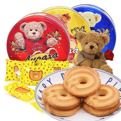 鹿家港小熊曲奇饼干礼盒装160g铁罐礼盒网红零食奶酪