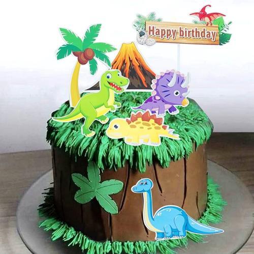 恐龙蛋糕插牌套装椰子树小火山 蛋糕装扮插卡 卡通霸王龙蛋糕配件