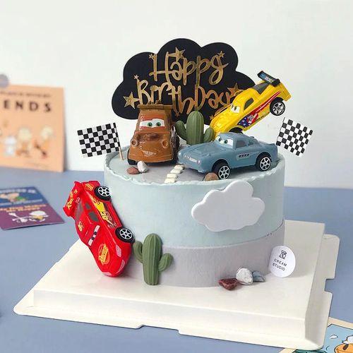 儿童蛋糕装饰摆件插牌男宝宝插卡小赛车小汽车插件