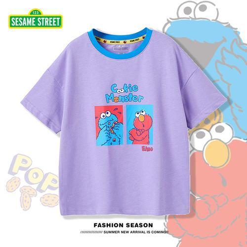 芝麻街童装儿童t恤2021年夏季纯棉薄款半袖体恤宝宝