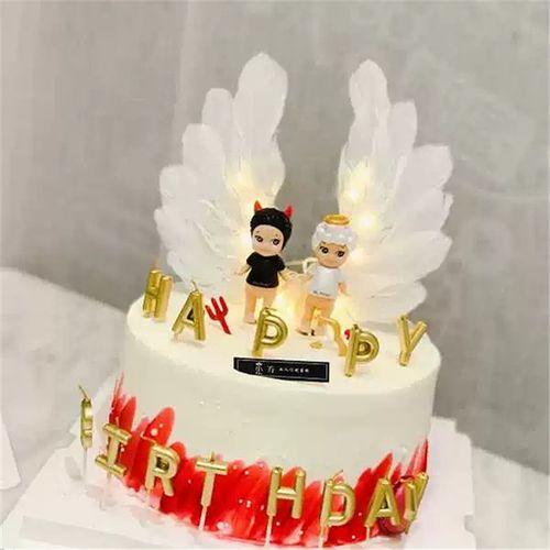 网红蛋糕装饰天使羽毛大翅膀蛋糕装饰插件节蛋糕