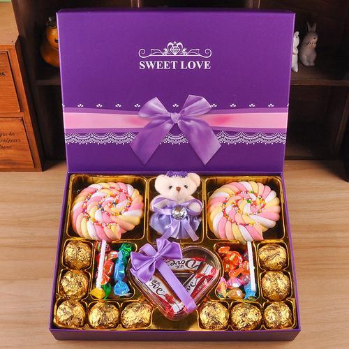 巧克力礼盒装创意浪漫网红糖果送女生女友生日儿童圣诞节礼物 紫色